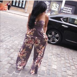 Gently used Xhilaration strapless floral jumpsuit